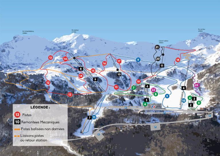 Plan des pistes des Monts d'Olmes